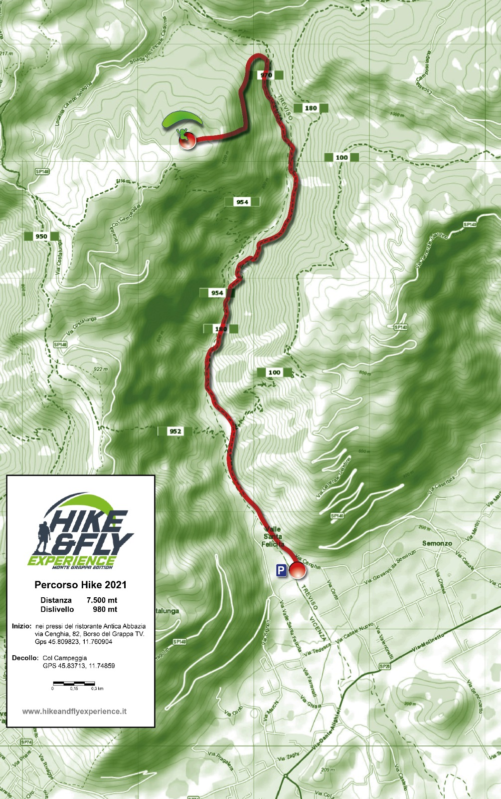 mappa percorso hike and fly experience 2021